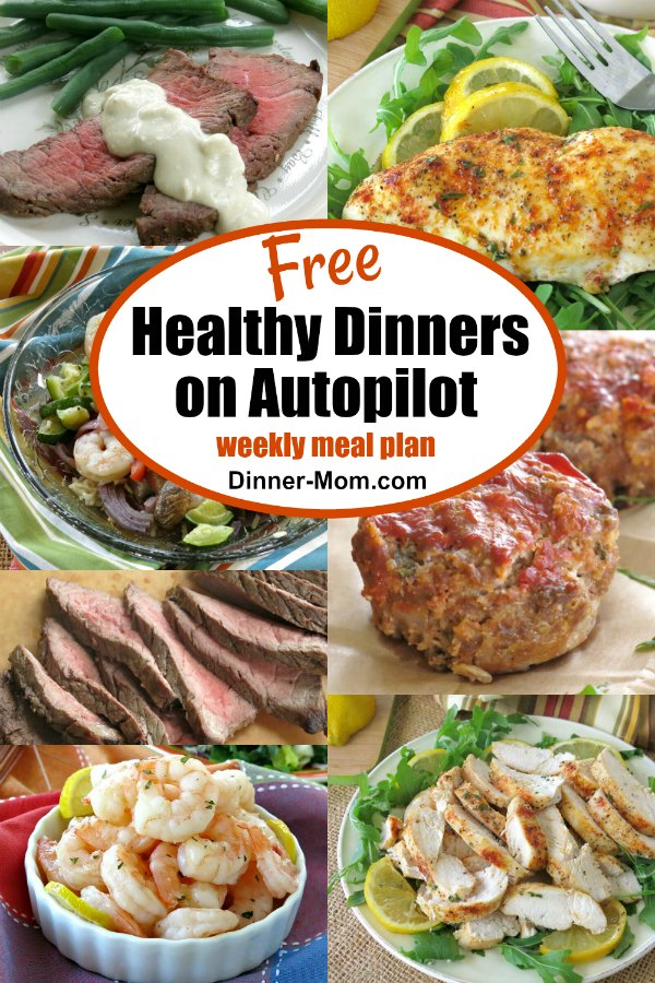Collage with food on healthy dinners on autopilot weekly meal plan.