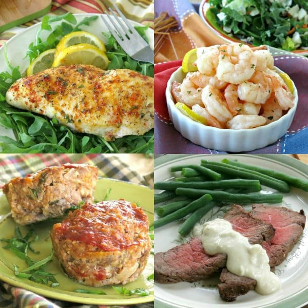 Collage of 4 core recipes: chicken, shrimp, meatloaf muffins and London broil for healthy dinners on autopilot plan