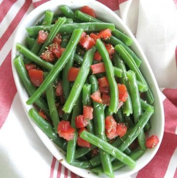 Italian Green Beans and Tomatoes in serving bowl.