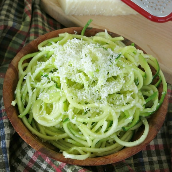 Garlic Parmesan Zucchini Noodles in a bowl