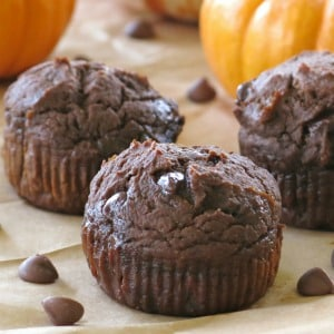 Three Chocolate pumpkin muffins