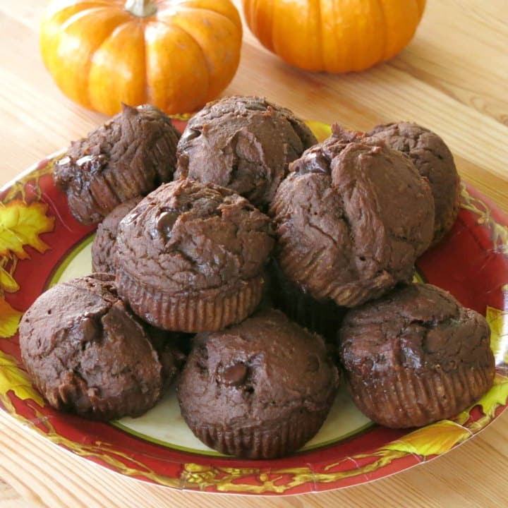 Chocolate Pumpkin Muffins with chocolate chips piled on a plate.
