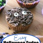Almond Butter Fudge Cups decorated for Halloween