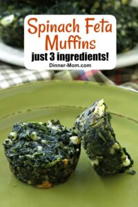 2 Spinach Feta Muffins on plate with overlay for Pinterest with name
