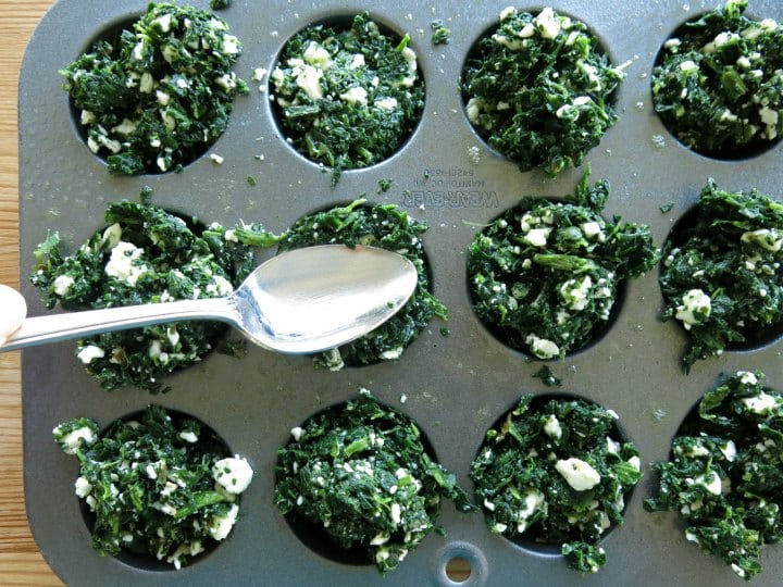 Spinach Feta Muffins in Muffin Tin