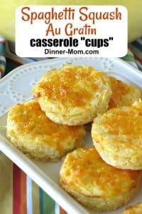 Spaghetti Squash Au Gratin Casserole Cups stacked on a serving platter