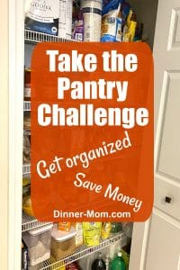 Open pantry covered with graphic that says Take the Pantry Challenge