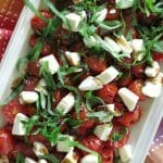 Grape Tomato Salad on rectangular plate