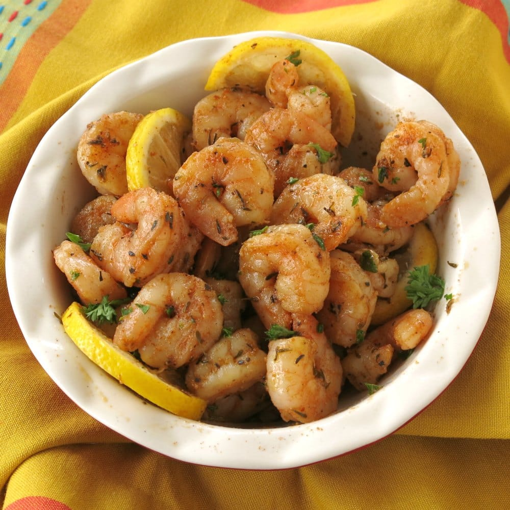 Blackened shrimp in a bowl