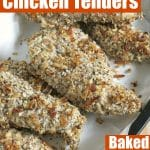 Healthy chicken tenders in a basket with text overlay for pinterest