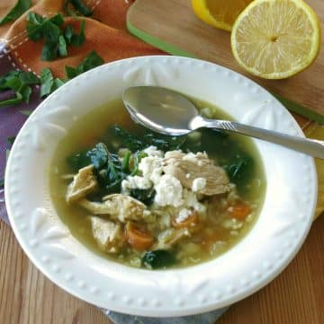 Lemon Chicken Soup with Cauliflower Rice in a bowl