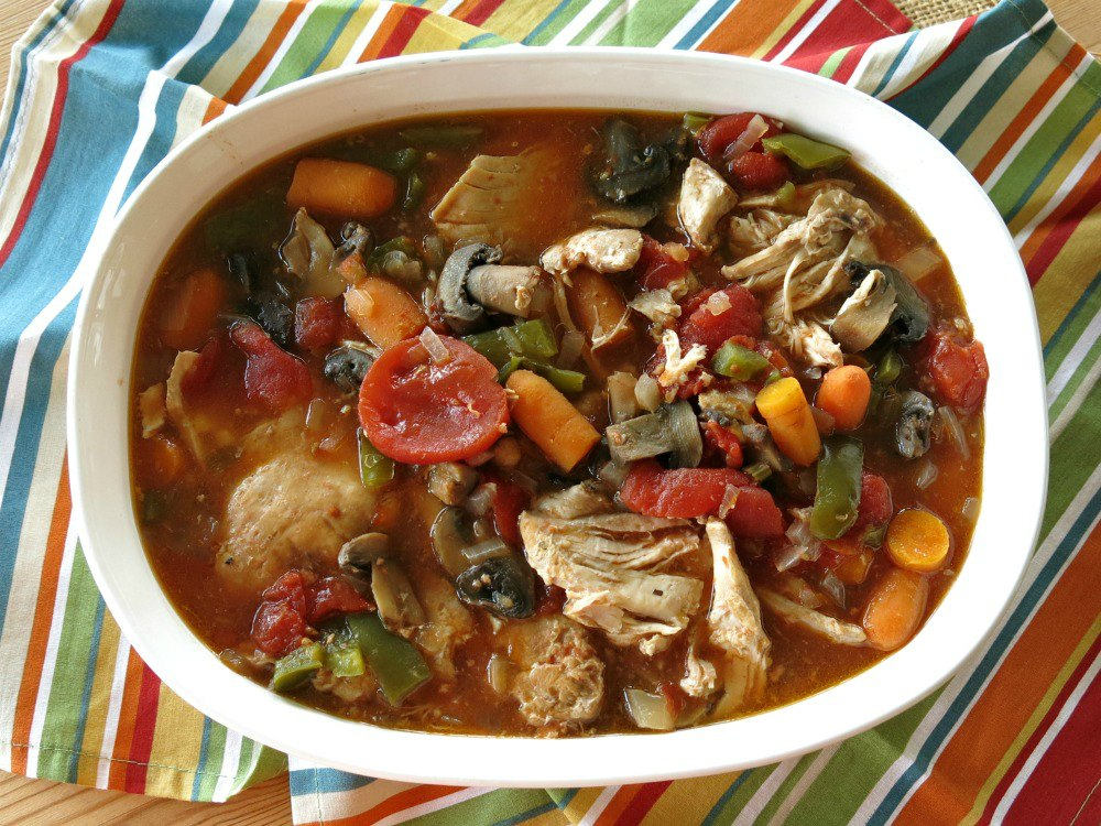 Crock Pot Chicken Cacciatore in a serving dish
