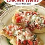 Bruschetta Chicken Melts on plate
