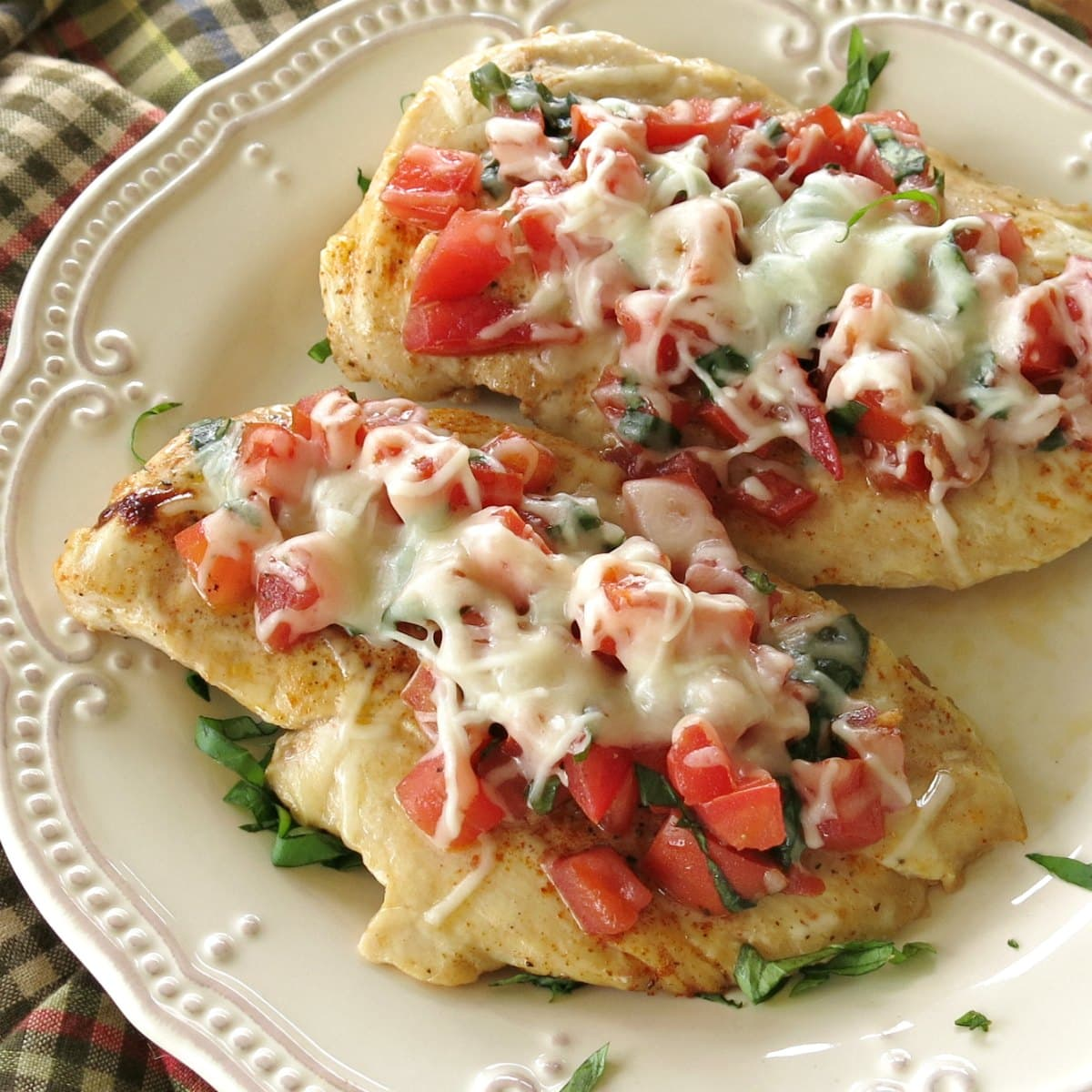 Bruschetta Chicken Melts on a plate