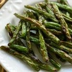 Crispy Roasted Green Beans on Plate Pin