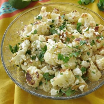 Mexican Street Style Cauliflower in a glass bowl