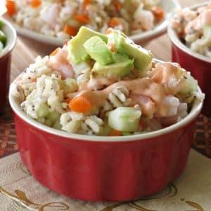 Shrimp Sushi Bowl with creamy sriracha dressing