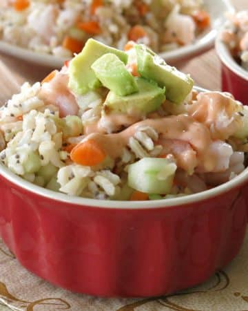 Shrimp Sushi Bowl with creamy sriracha dressing