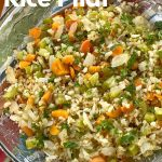 cauliflower rice pilaf with vegetables in bowl with name as text overlay