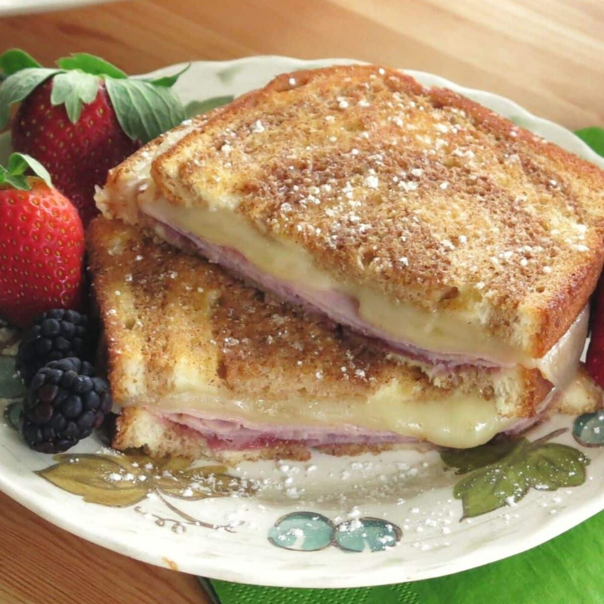 Monte Cristo Grilled Cheese on a plate.