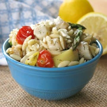 Scallops Asparagus Orzo Pasta Salad in bowl