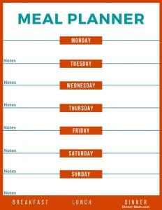 Weekly Menu Planner with spaces for all meals