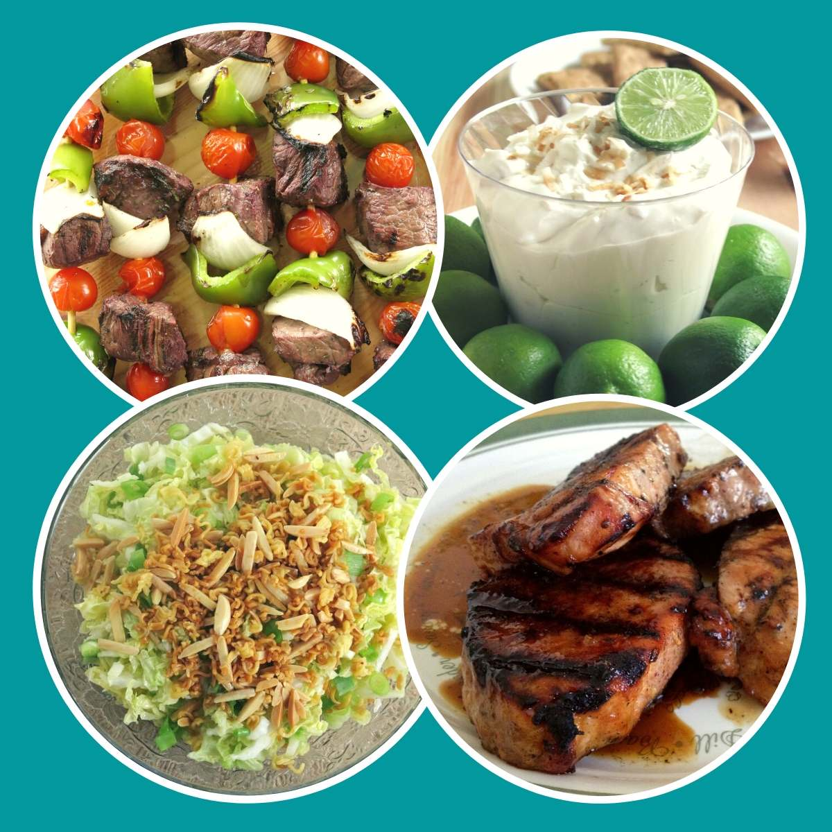 Collage of four cookout recipes: shish kabobs, key lime dip, ramen salad and grilled pork chops.