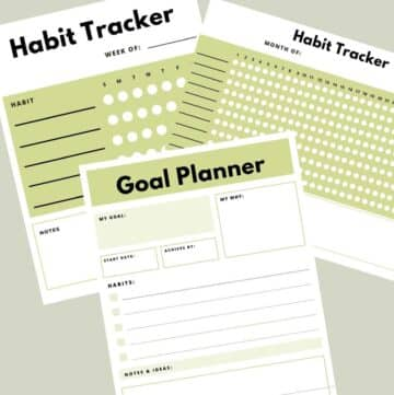 Collage of weekly and monthly printable habit trackers and goal planner