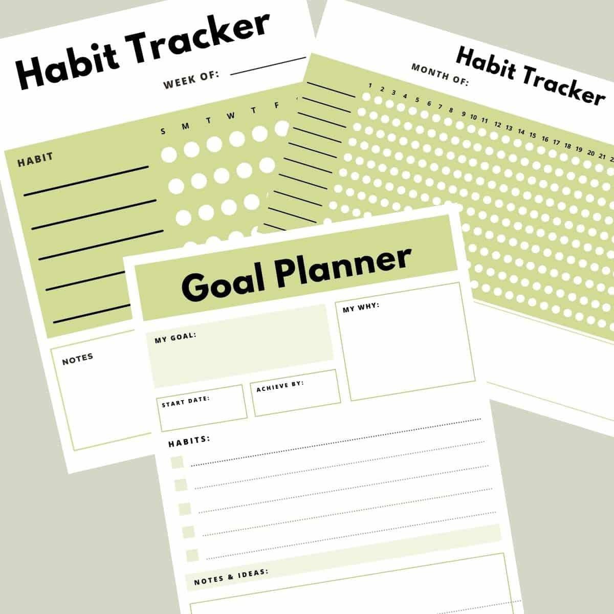 Free Printable Habit Tracker and Goal Planner