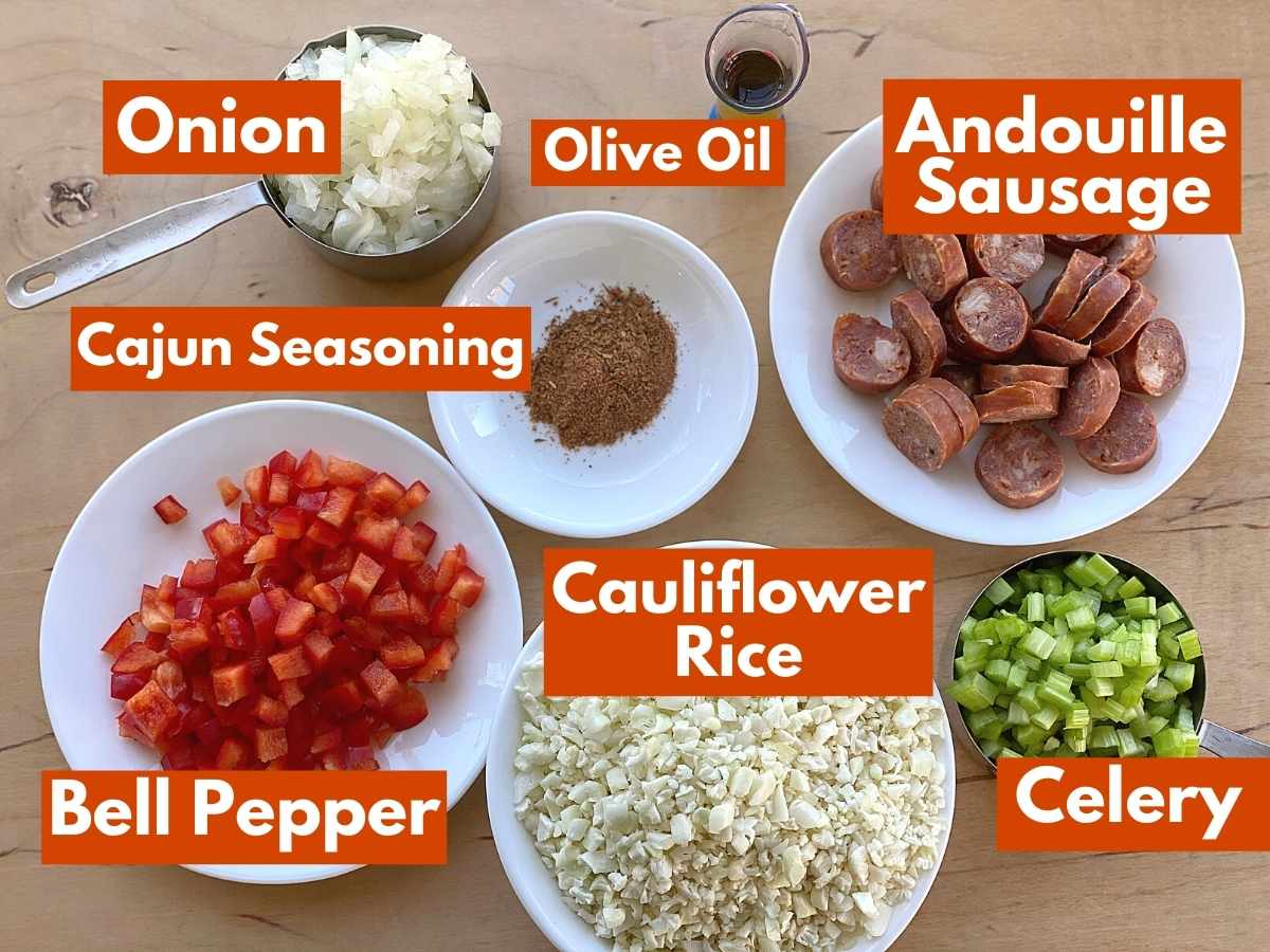 Labeled graphic with all of the ingredients to make cajun dirty rice.