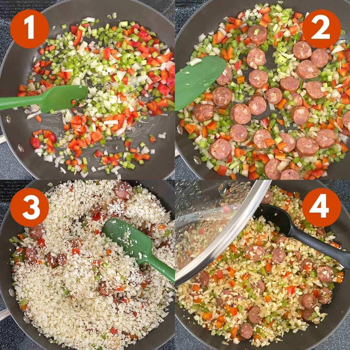 Numbered graphic with pictures of steps to make recipe.
