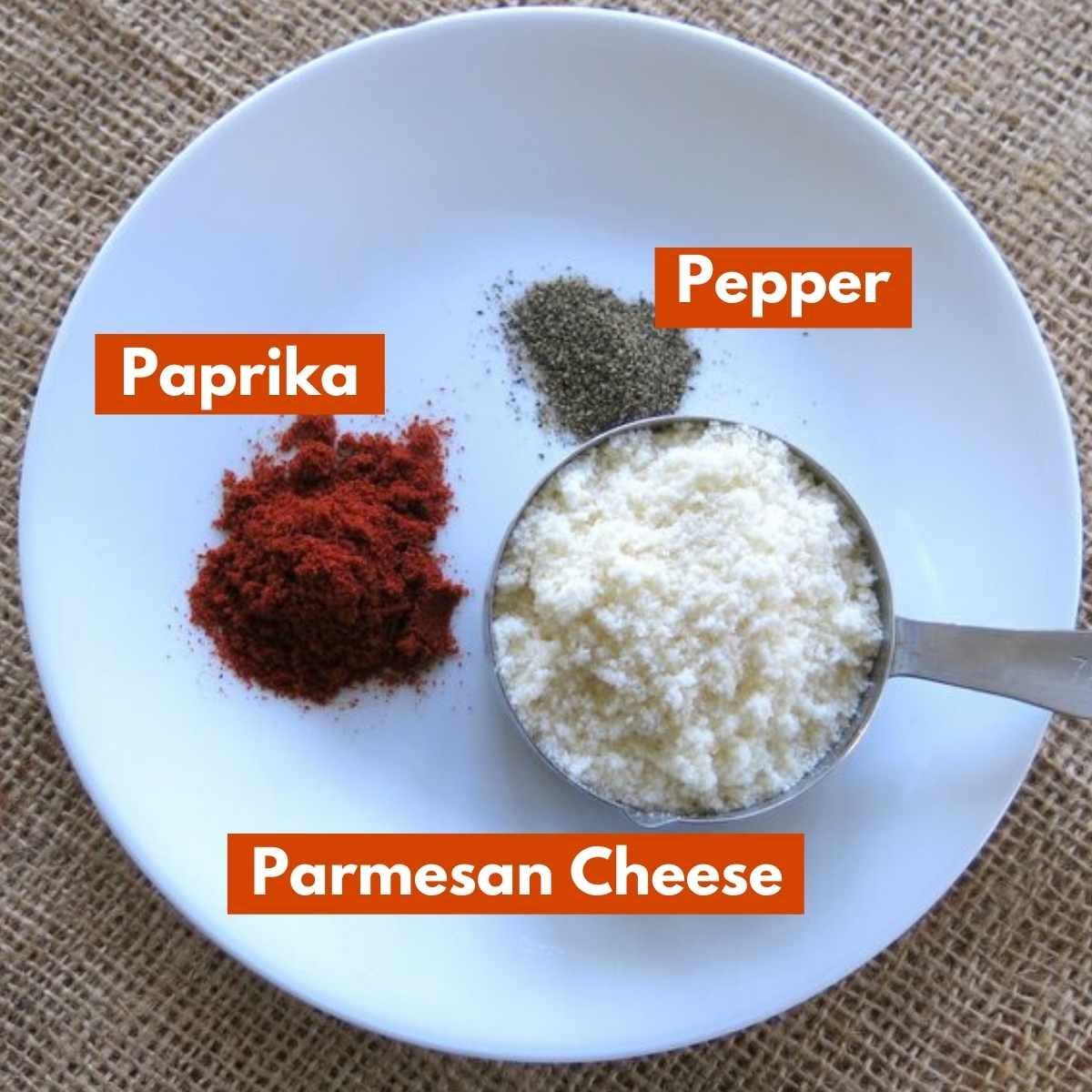 Ingredient graphic for breading with Parmesan cheese, paprika and pepper labeled.