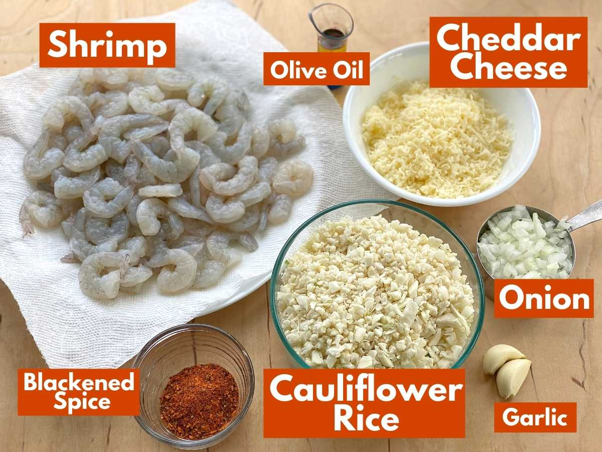 Graphic with each ingredient to prepare the recipe along with a label.