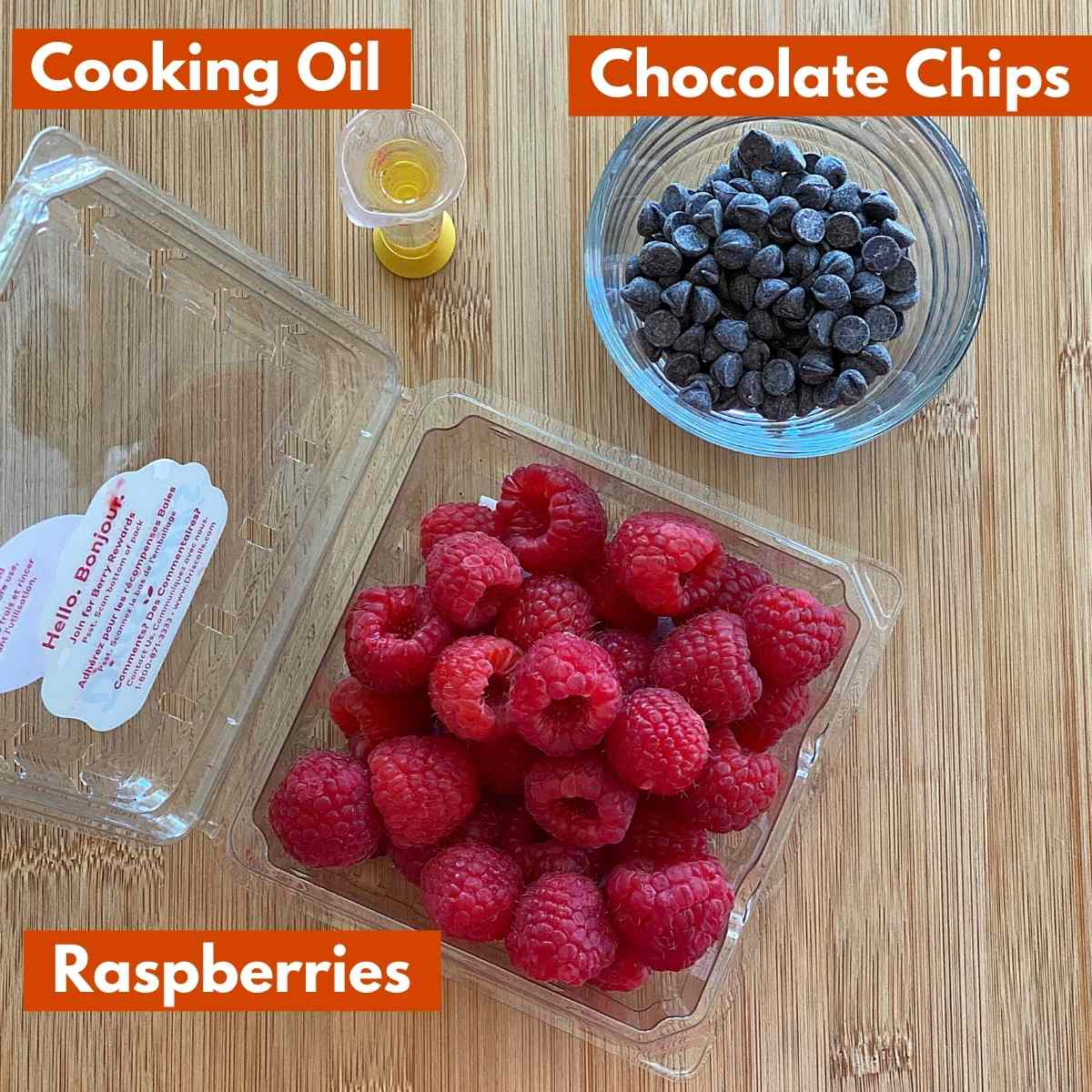 Graphic with pictures of ingredients to make the recipe: raspberries, sugar-free dark chocolate chips, oil.