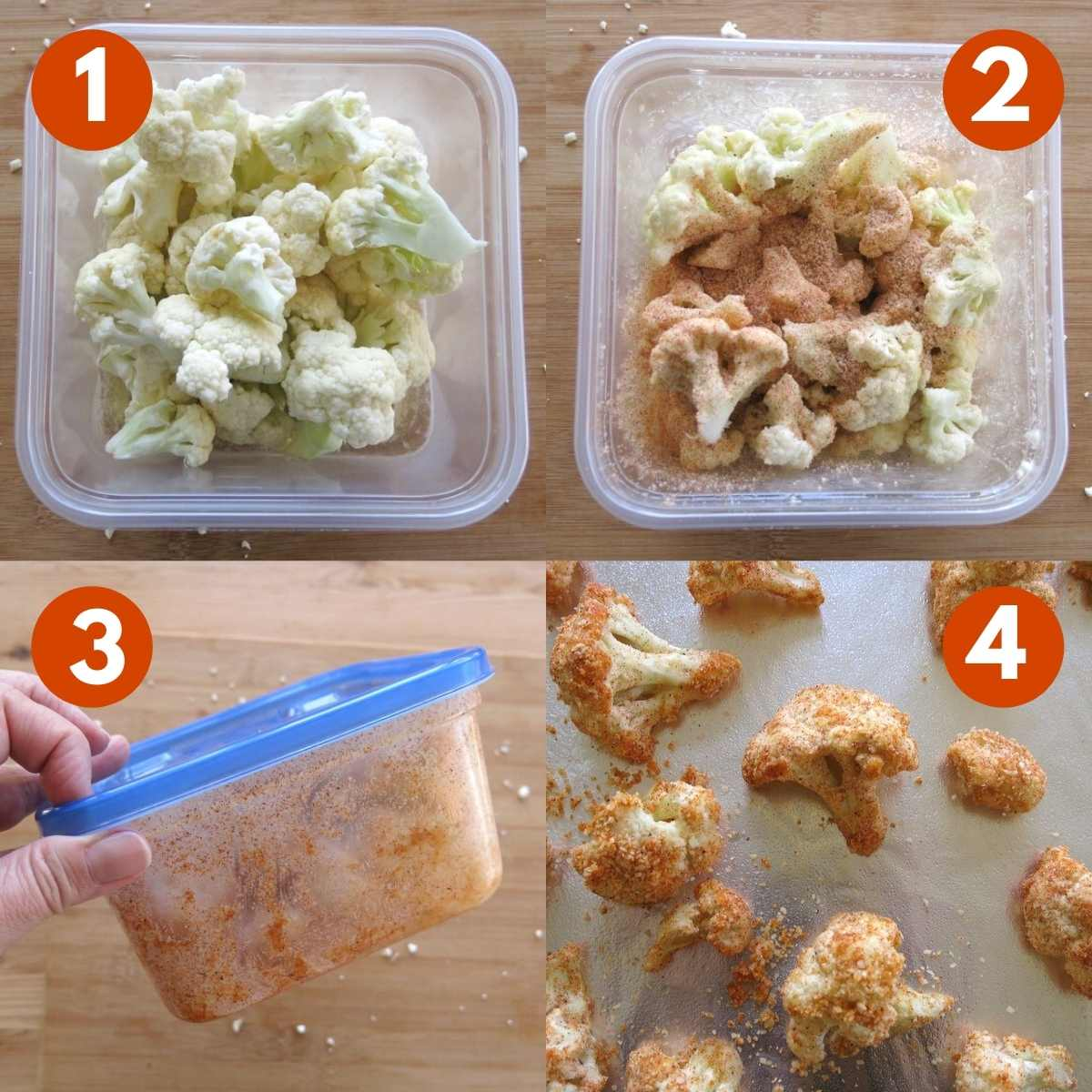 Breading Technique for cauliflower graphic with 4 steps labeled.