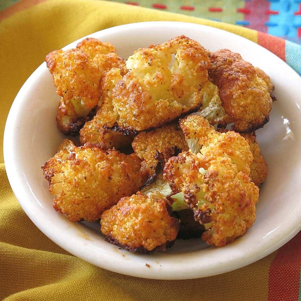 Parmesan Cauliflower Bites Appetizer in a bowl.