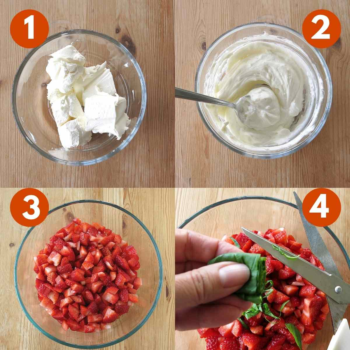Numbered graphic of steps 1 through 4 to make recipe.