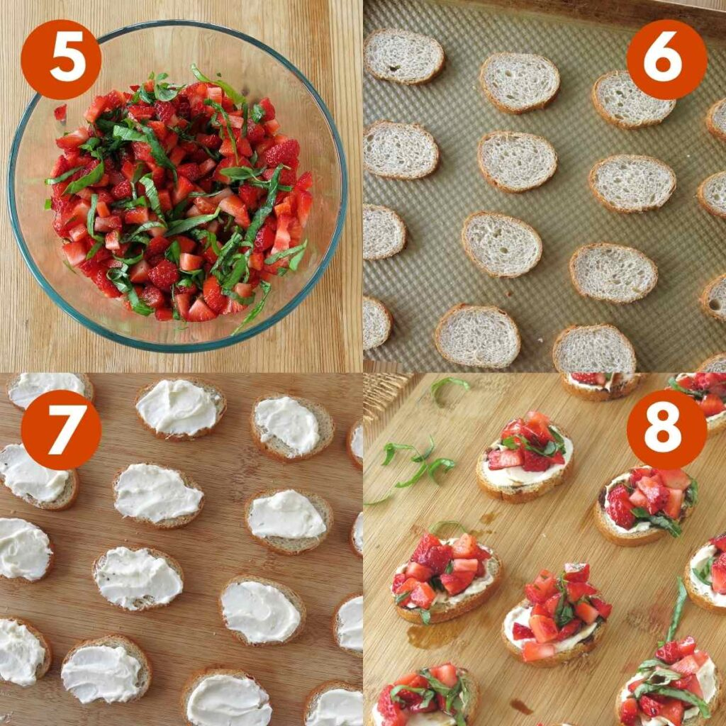 Numbered graphic of steps 4-8 to make recipe.