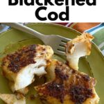 Graphic with picture of cod on a plate and name of recipe on top.