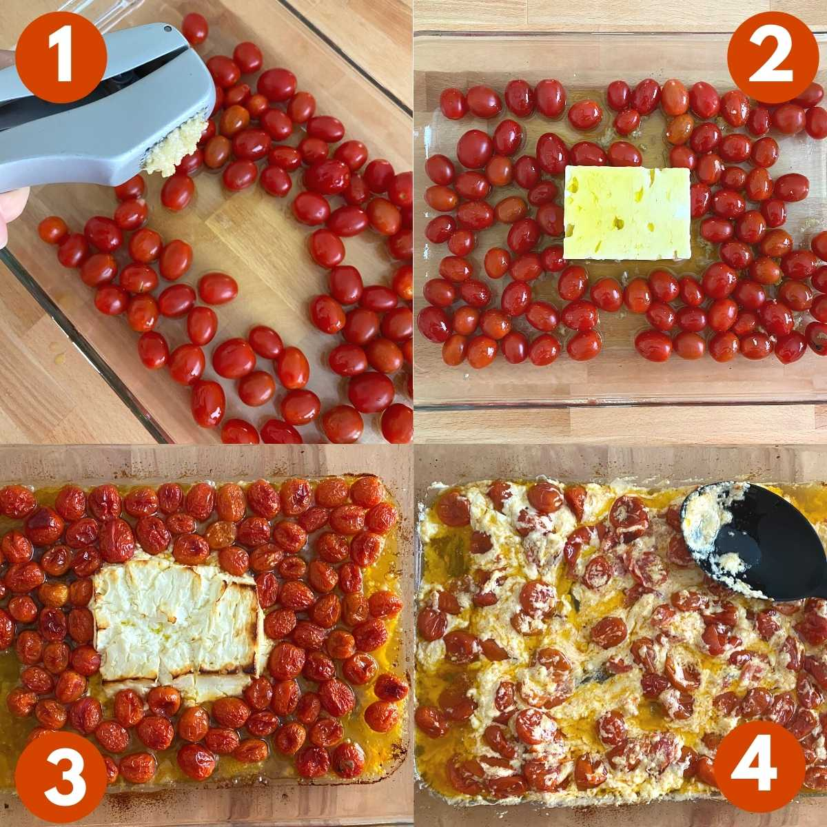 Numbered Collage with steps to make baked feta sauce with tomatoes.