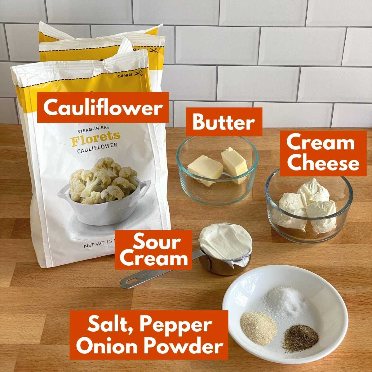 Graphic of ingredients to make recipe with labels.