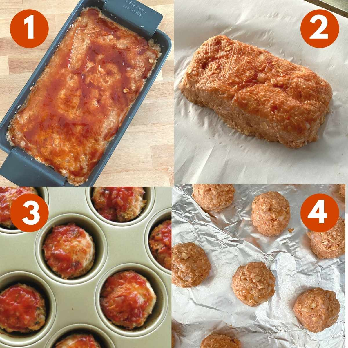 Numbered collage of 4 ways to shape mixture for meatloaf.
