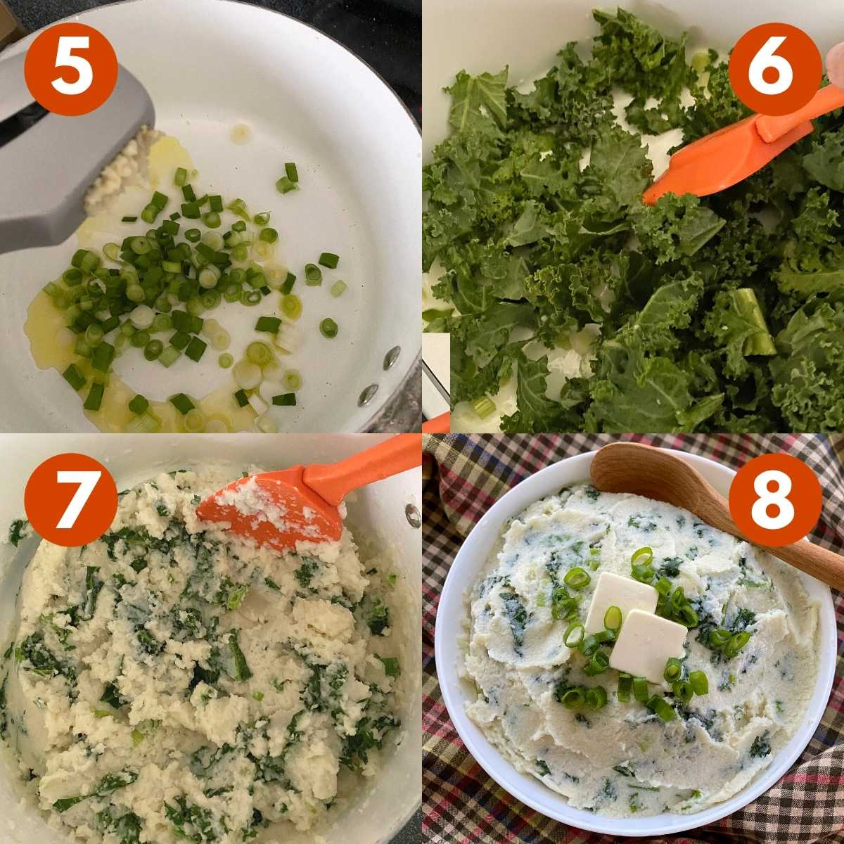 Graphic with numbered steps to finish the recipe with sauteed spring onions and kale.