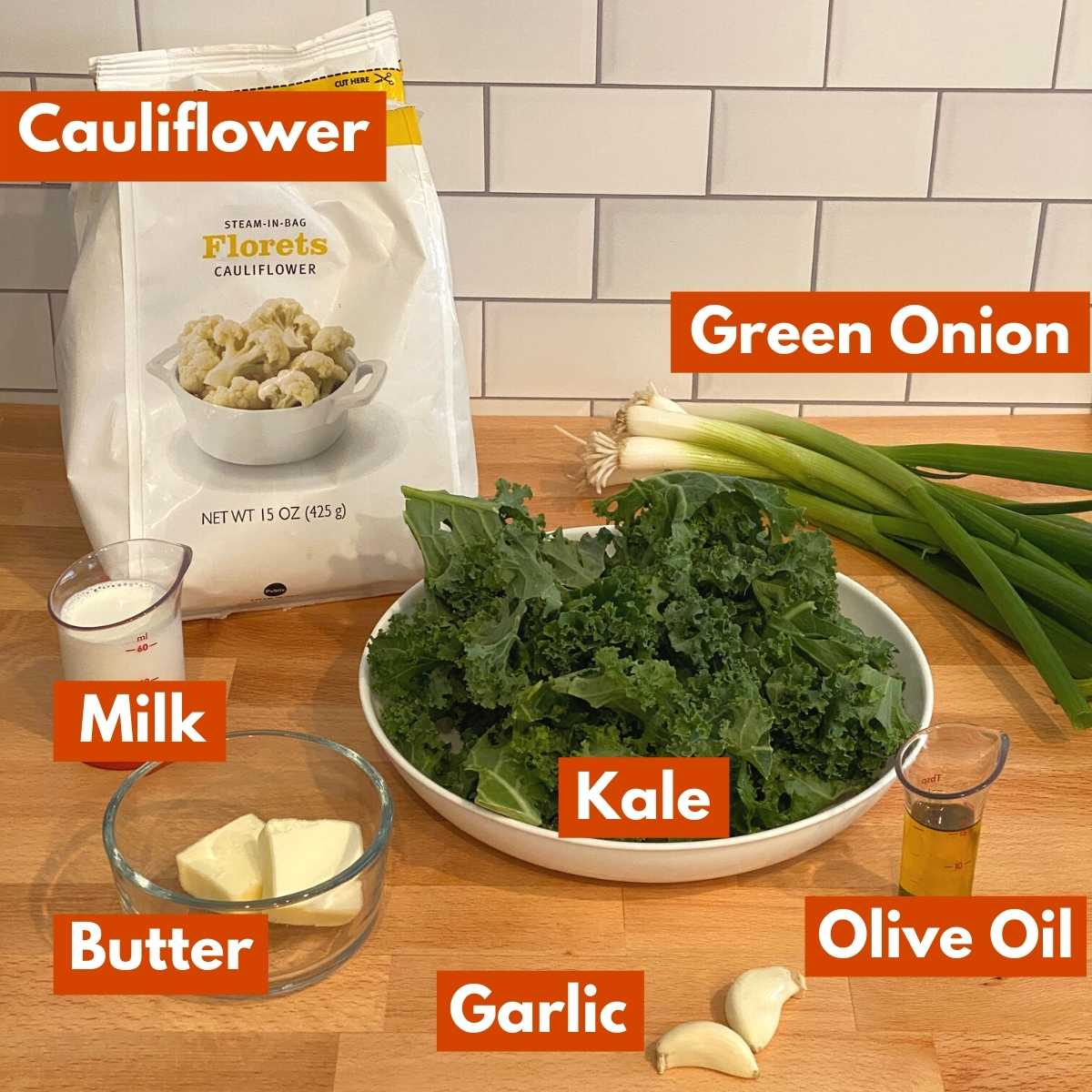 Graphic with ingredients to make cauliflower colcannon recipe.