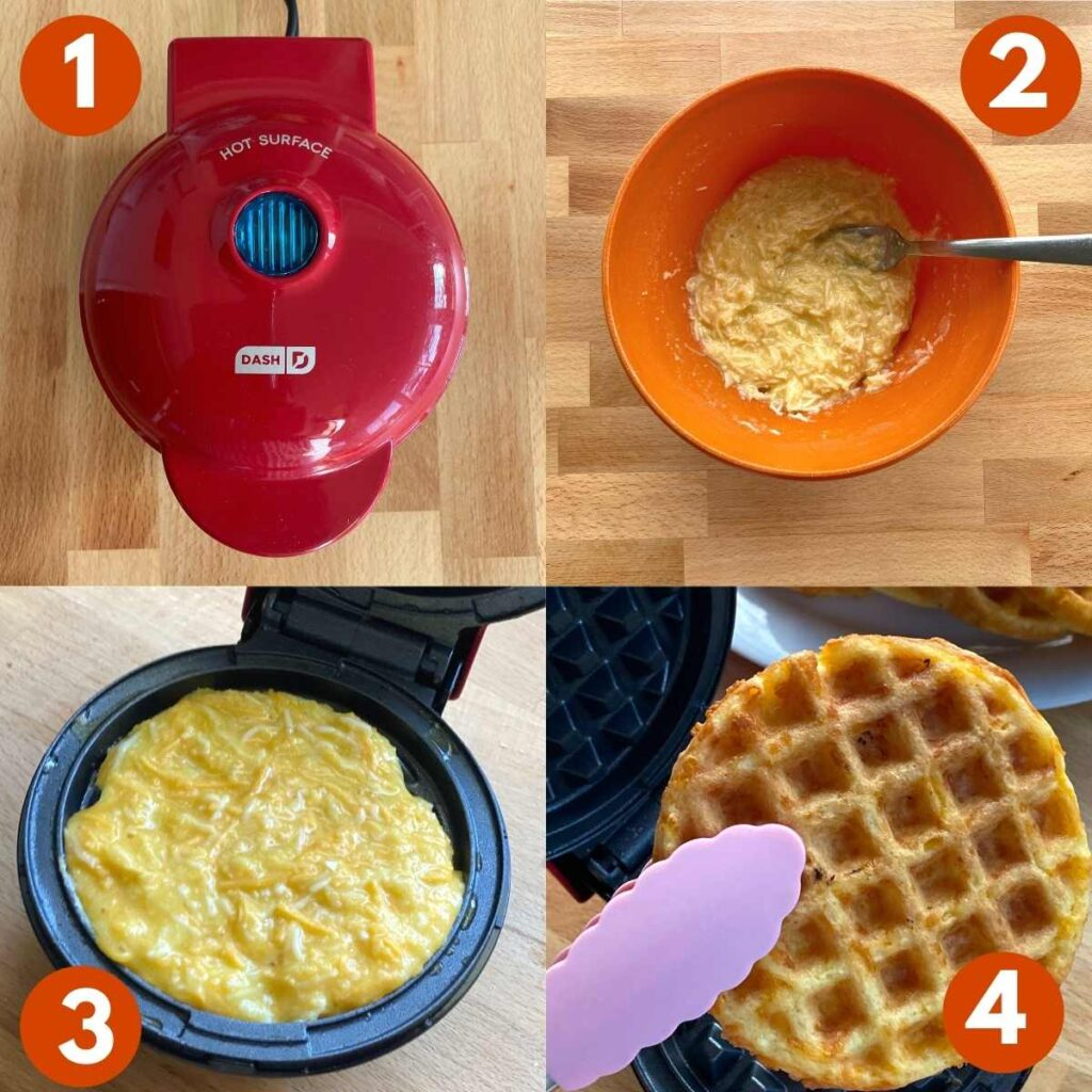 Numbered picture collage of steps to make keto chaffles.