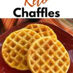 Chaffles on plate with title above it.