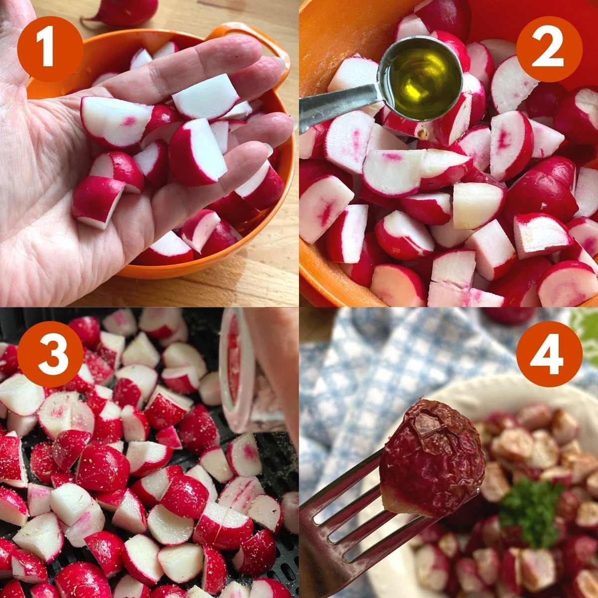 Picture collage of steps to roast radishes in the air fryer.