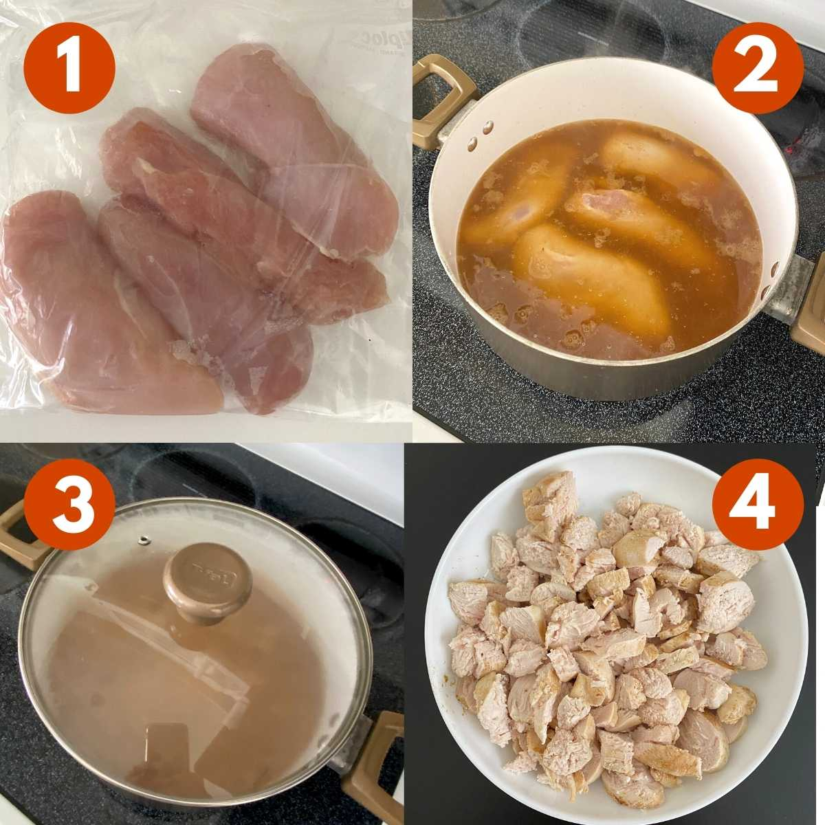 Numbered picture collage of directions to poach chicken.