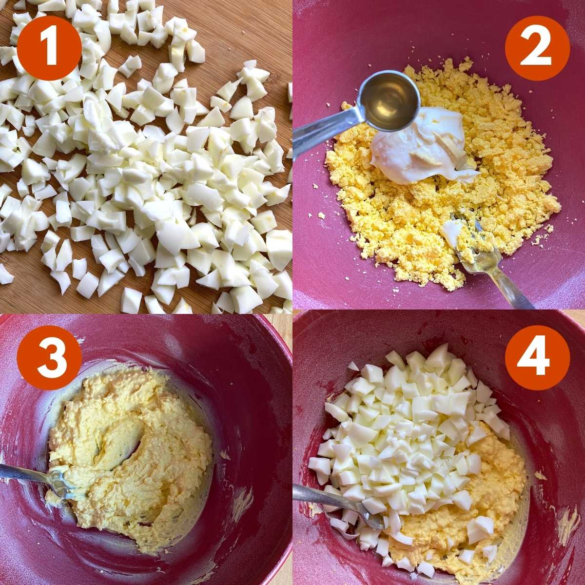 Numbered picture collage of steps to make egg salad.