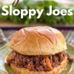 Gourmet sloppy joe on bun with lettuce in background and title on top.